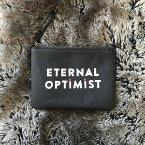 "Handbags - FEED ""Eternal Optimist"" Black Leather Pouch"